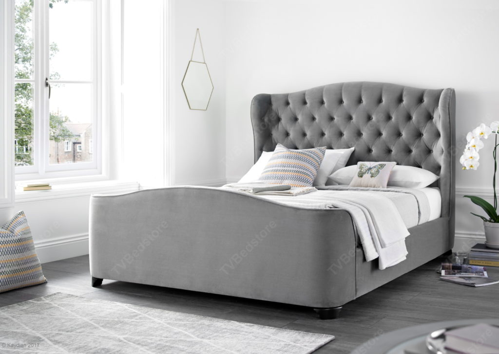 Kaydian Duchess Grey Velvet Bed Frame Super King Size Tv