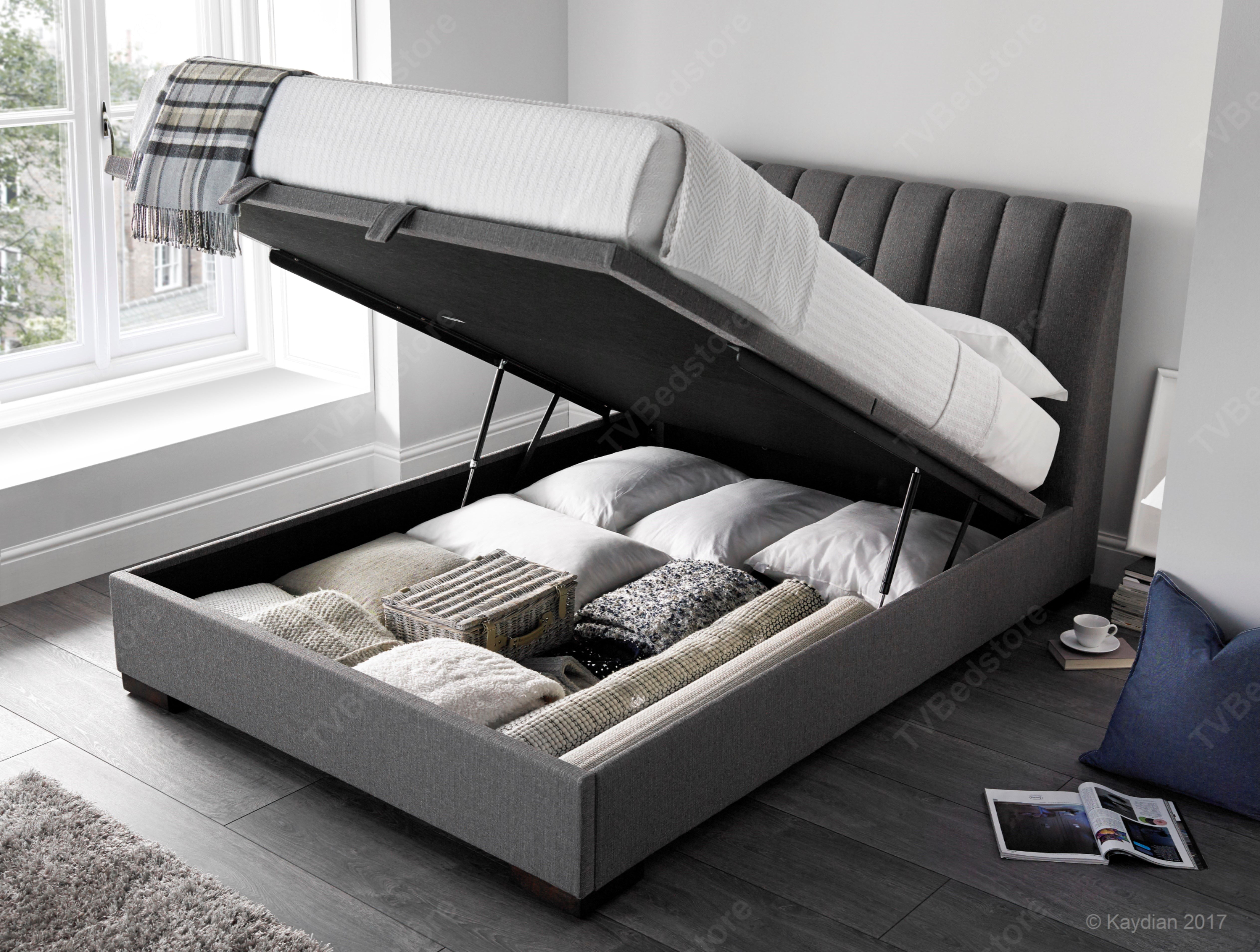 Kaydian Lanchester Grey Fabric Ottoman King Size Tv Bed Store