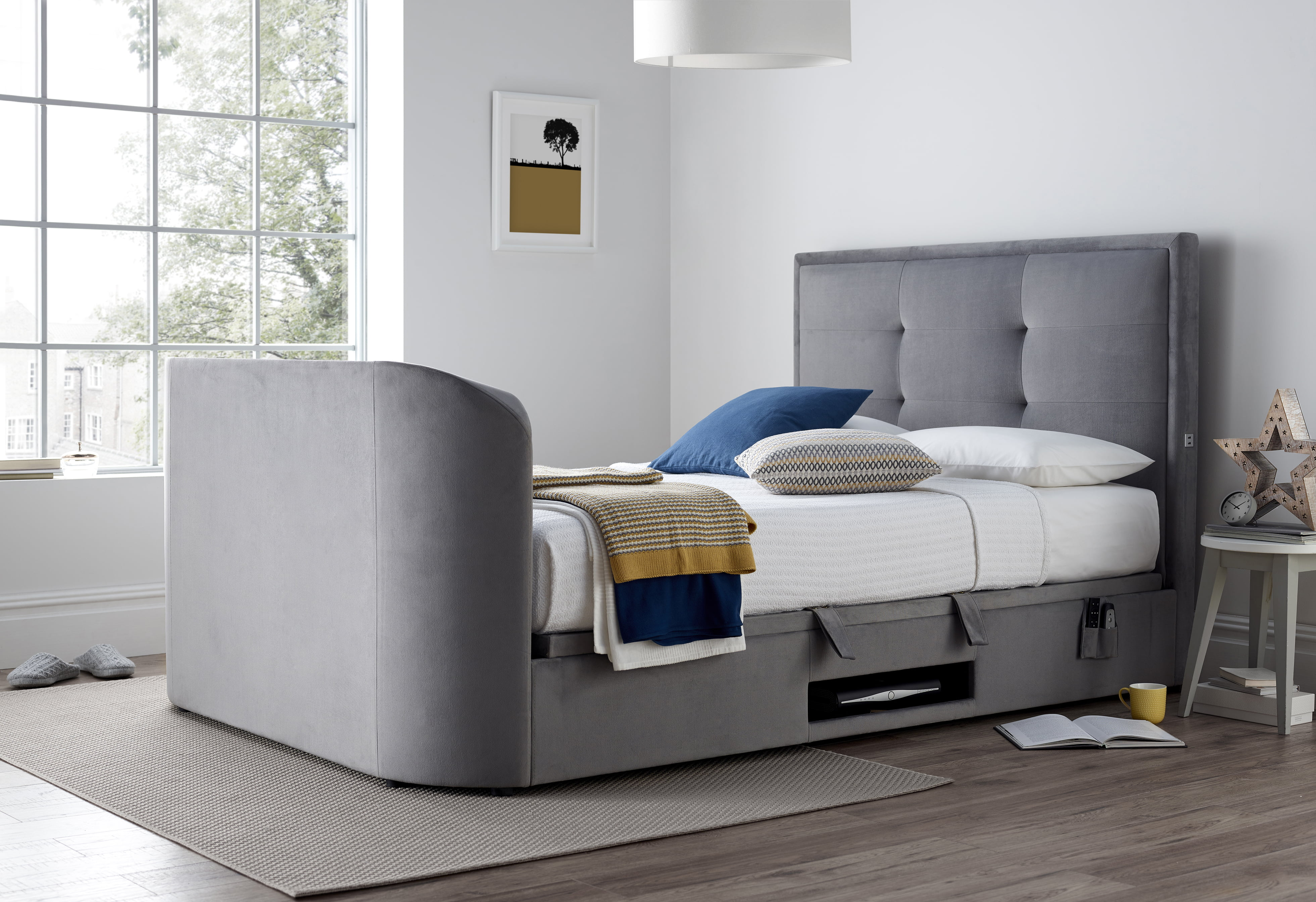 The Jetson Ottoman Media King Size Tv Bed 0 Finance