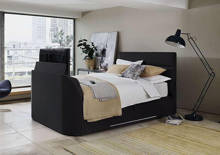 Sensational Details About Black Leather Connect King Size Ottoman Tv Bed Holds Up To 43 Tv Creativecarmelina Interior Chair Design Creativecarmelinacom