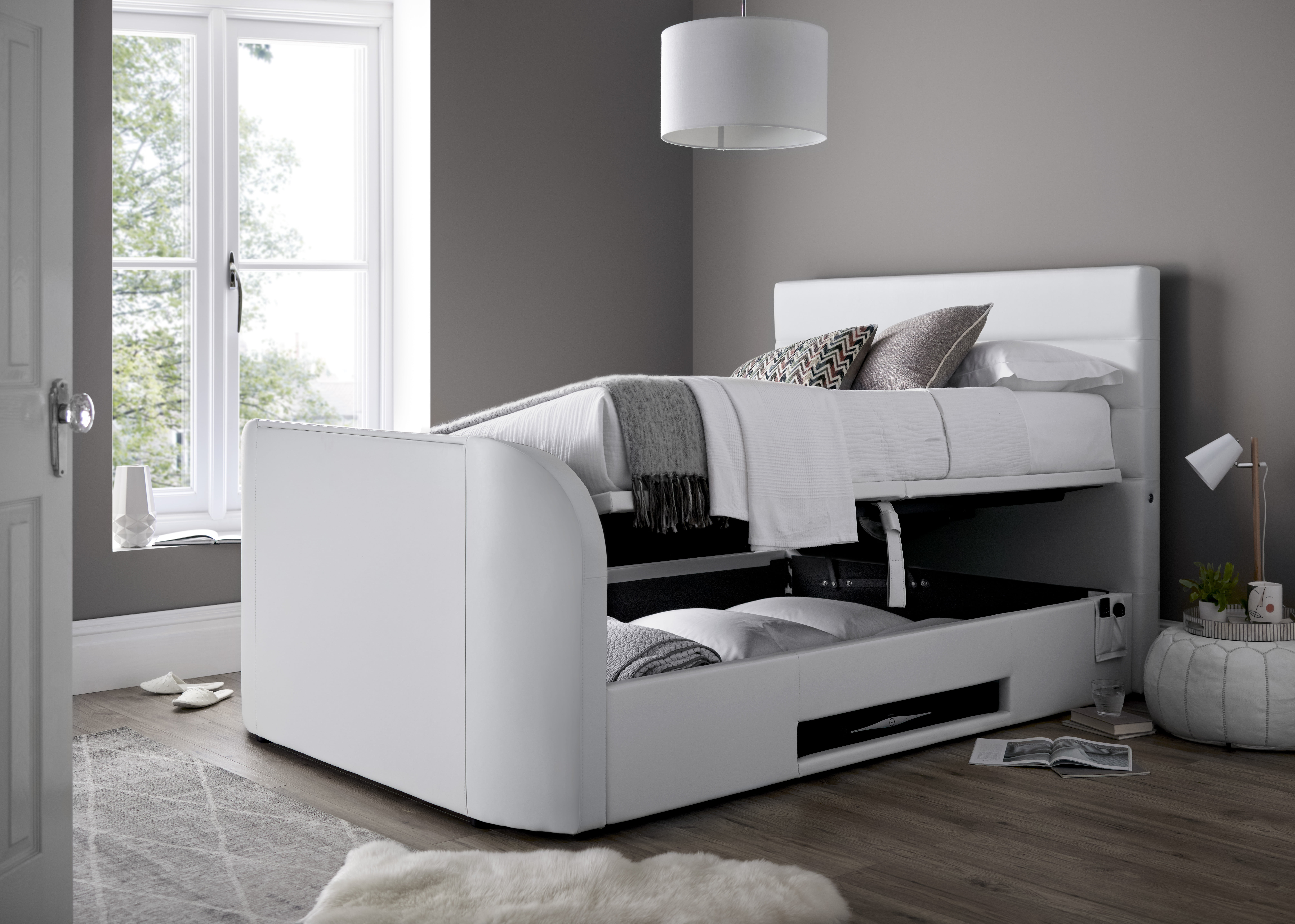 Picture of: Annecy Storage Media King Size Tv Bed Frame Tv Bed Store