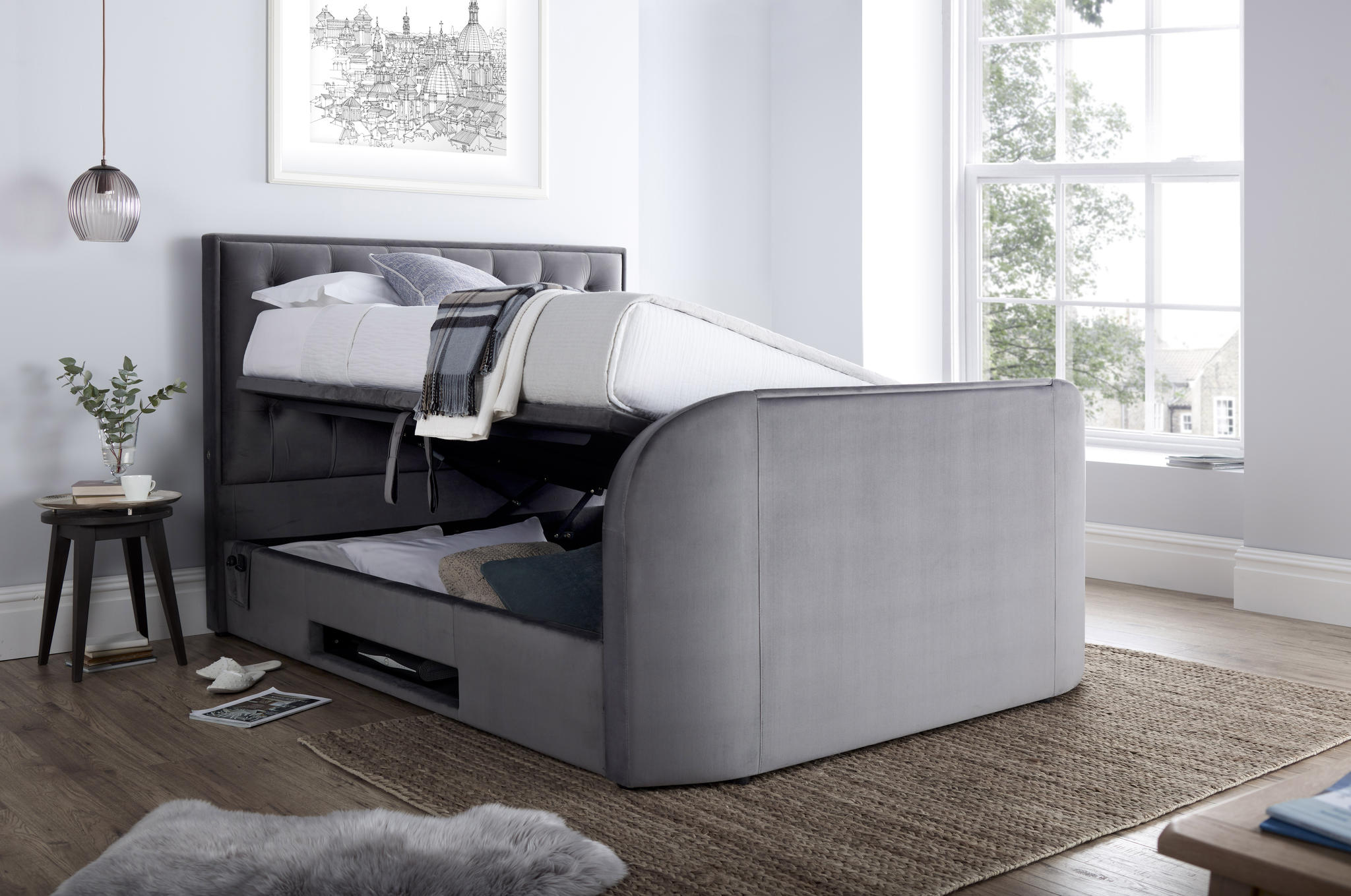 Picture of: Lyon Storage Media King Size Tv Bed Frame Tv Bed Store